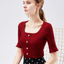 Elegant Square Collar T-shirt Female Five-point Sleeves Autumn Womens 2019 Top 1412