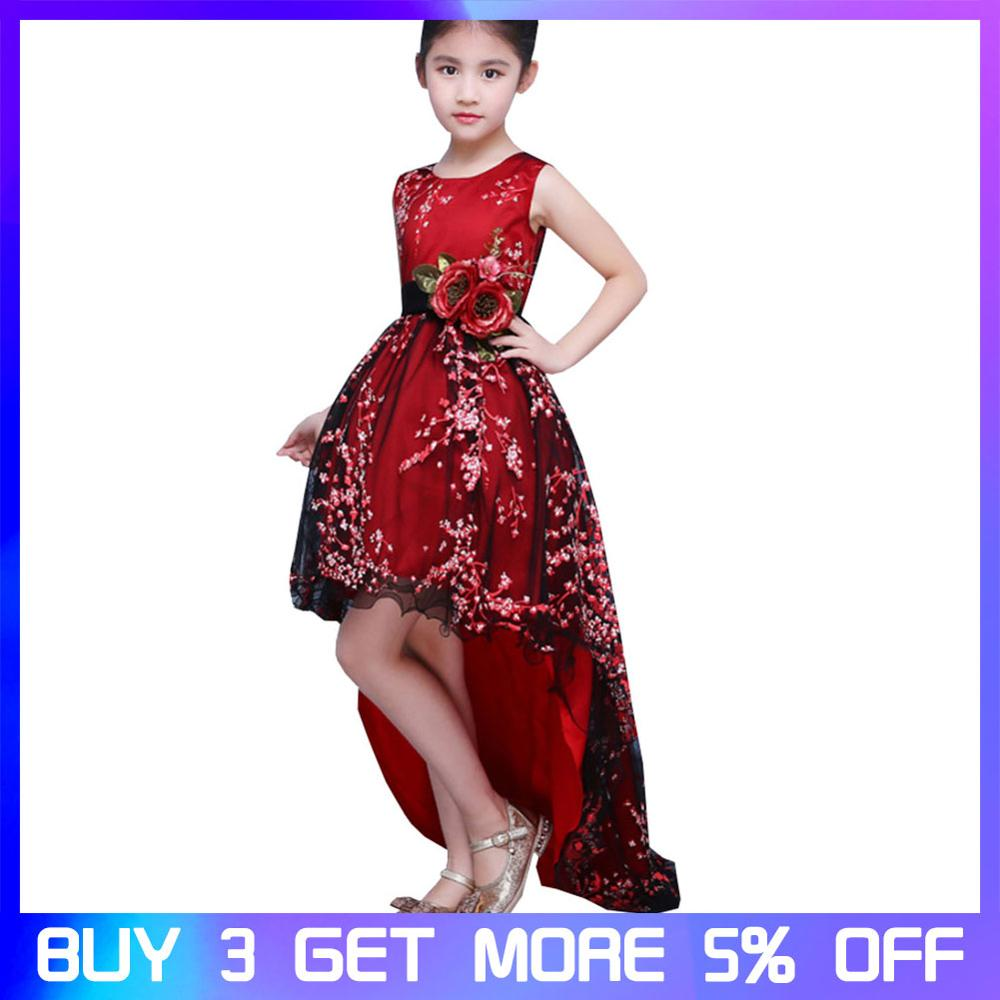 Girls Princess Dress Ball Gown Long Trailing Red Embroidery Floral Evening dress with Belt Wedding Girl