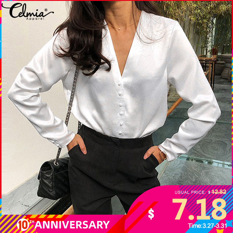 Celmia 2020 Fashion White Satin Silk Blouse Ladies Casual Long Sleeve Shirts Buttons Sexy V Neck Party Tops Plus Size Blusas 5XL
