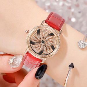 Image 2 - KCHKE New Creative Womens Watch Leather Strap Time Running Watch Women Romantic Simple Quartz Watch relogio feminino