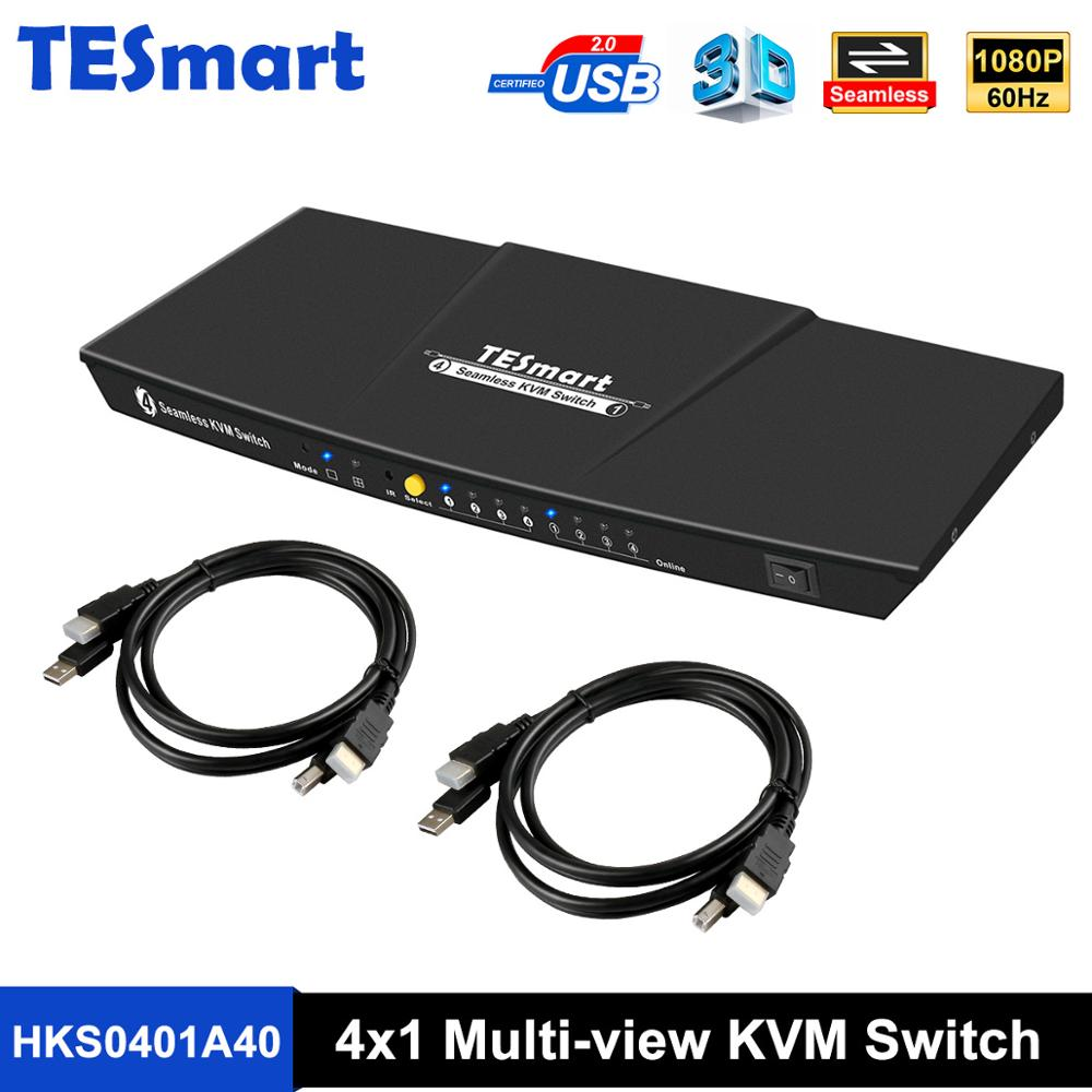 Seamless KVM Switch Multi-view 4x1HDMI Switch KVM 4 Ports Seamless KVM USB2.0 4 In 1Out Switch KVM Up To1080P@60Hz 3D