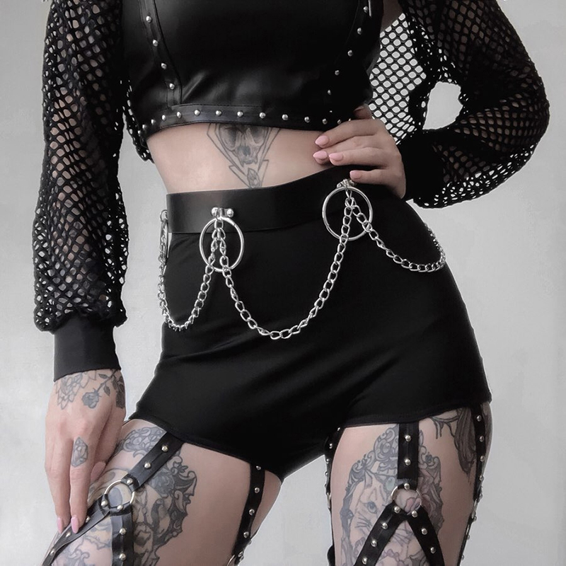 Trouser Gothic Black Punk Female Hollow Out Bodycon Trousers 2020 Summer Goth Sexy High Waist Harajuku Streetwear Women Pants