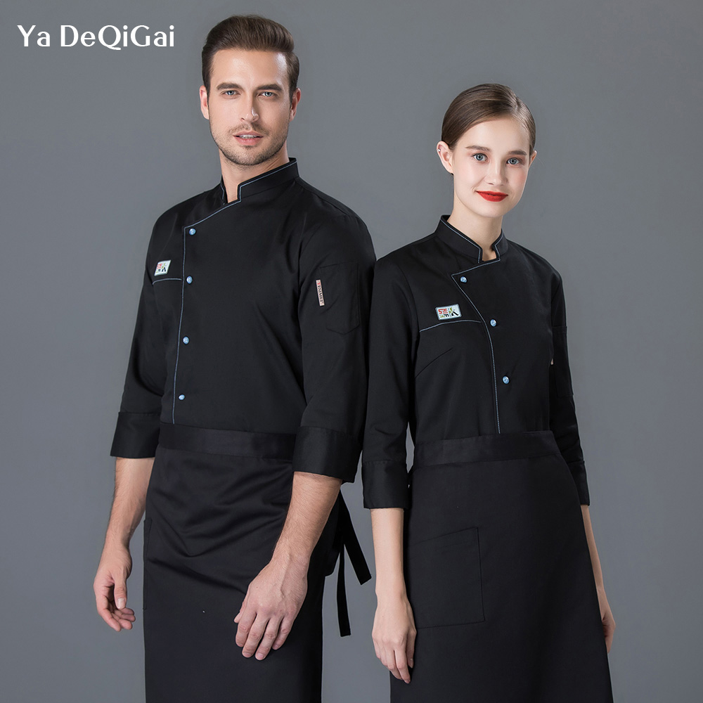 Restaurant Uniforms Shirts Bakey Cake Shop Workwear Hotel Kitchen Chef Jacket Food Service Work Clothes Men Wholesale Unisex New