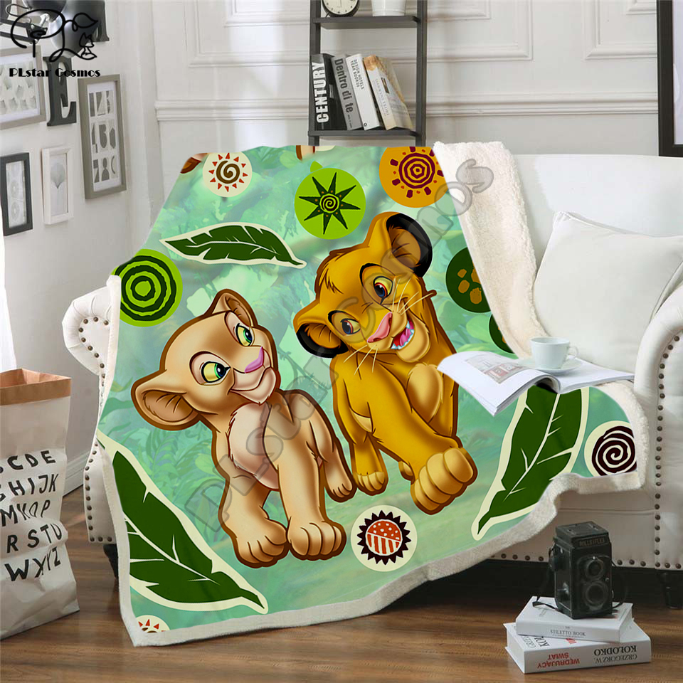 Kids Anime Lion King Simba Nala 3D Blanket Fleece Cartoon Print Children Warm Bed Throw Blanket Newborn Bayby Blanket Style 015