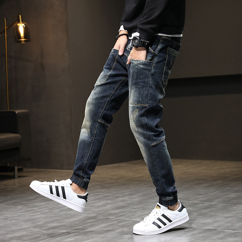 Autumn Relaxed Tapered Jeans Men Streetwear Hiphop Elastic Waist  Joggers Jeans Pants Man Casaul