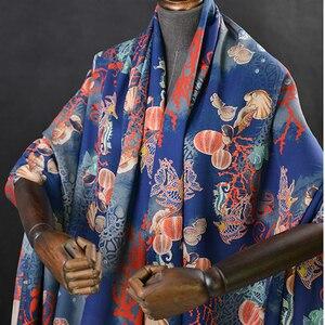 Image 5 - Sea animal print silk fabric quality natural silk double georgette 100cm*140cm