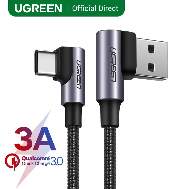 UGREEN Nylon USB C kabel 90 stopni szybka ładowarka USB typ C kabel do Xiaomi Mi 8 Samsung Galaxy S10 Plus telefon komórkowy USB-C przewód