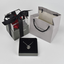 Beautiful Red Rose Flower Box Jewelry Holder Case 100 languages I love you Romantic Love Necklace For Girlfriend Mother Gift цена 2017