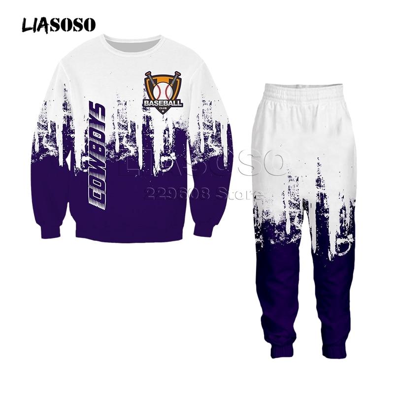 Men&women Fashion Clothing Set Sweatshirt+pants 2 Piece Tracksuits Baseball Logo Print Suits Sport Wear Hip Hop Two-color Suit