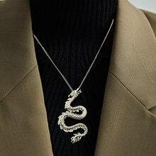 Collier Punk Vintage avec pendentif Dragon Animal pour femmes et hommes, chaîne cubaine épaisse, couleur or argent, bijoux cadeaux