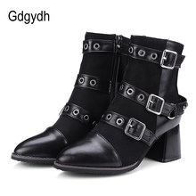 Gdgydh Women Shoes 2020 New Spring Sexy Rivet Ankle Boots For Women Pointed Toe Plush Inside Female Footwear Casual Shoes Nice(China)