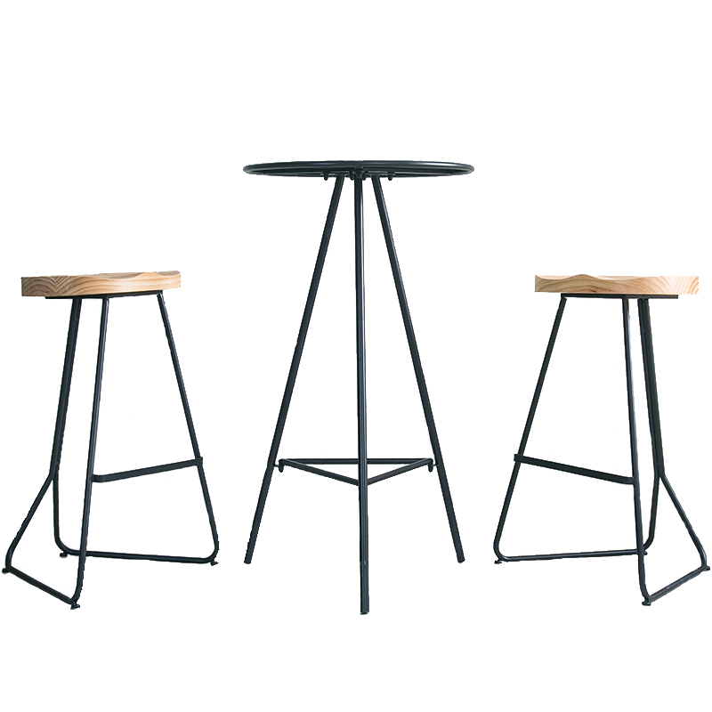 Simple Bar Table And Chair Combination Wrought Iron Home High Foot Small Round  Balcony Outdoor Leisure  Coffee