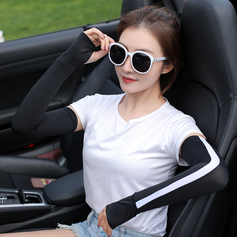 New Summer Ice Silk Sleeves Outdoor Sports Splicing Sunscreen Cuff Riding Drive Anti-Ultraviolet Cuff Wholesale