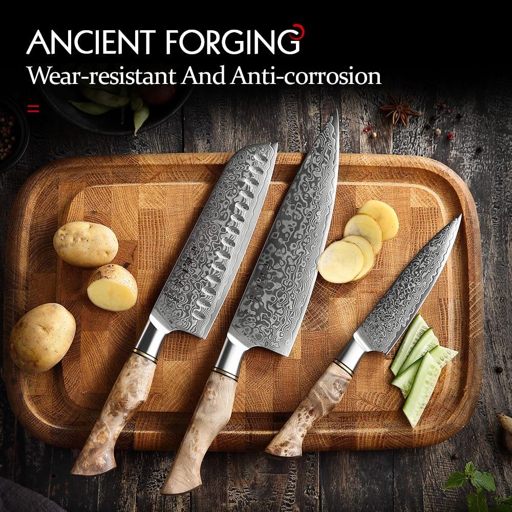HEZHEN 3PC Knife Set Professional Damascus Super Steel Vg10 Chef Santoku Utility Cook Knife Japanese Sharp Kitchen Knife 5