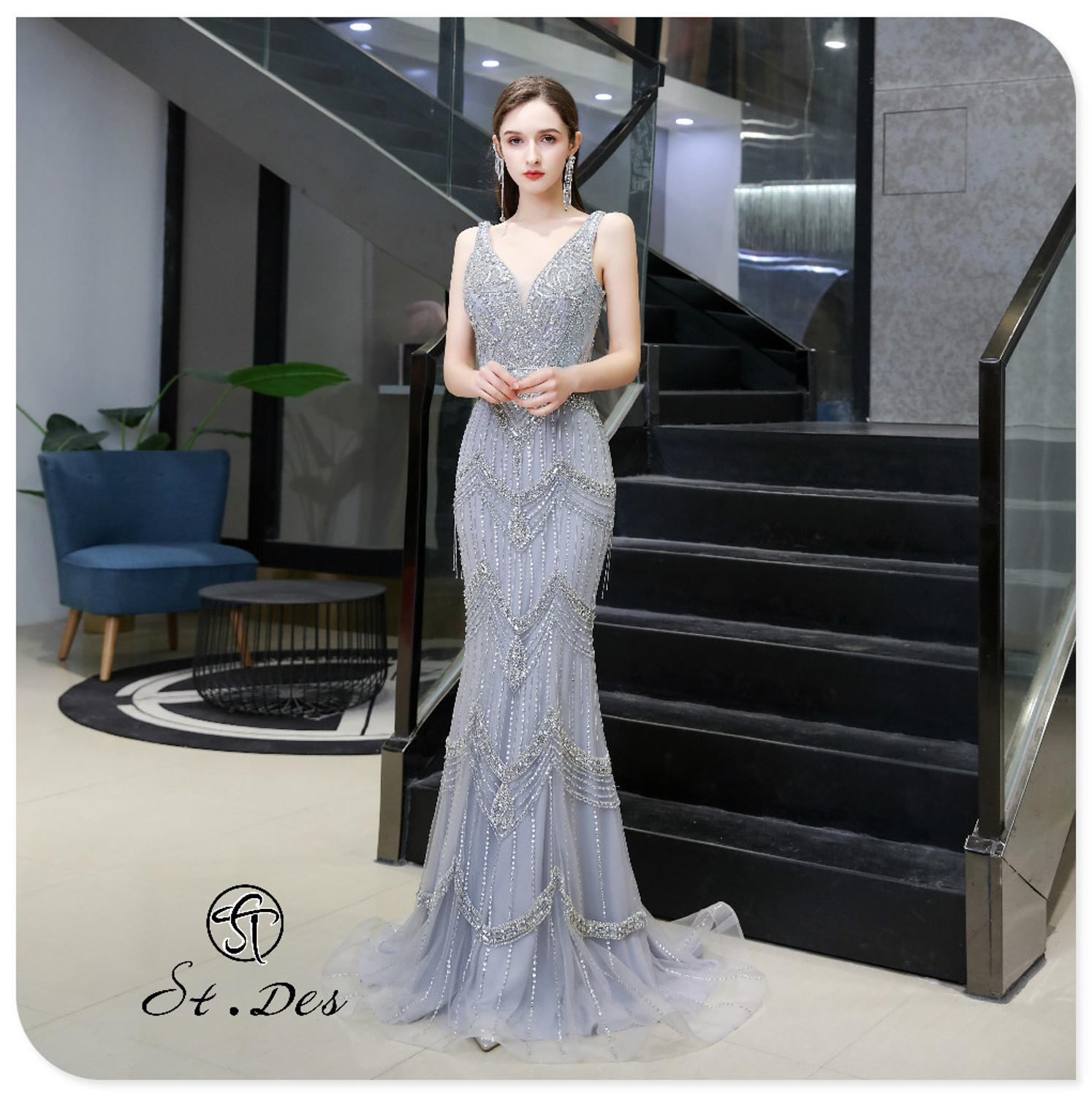 S.T.DES Evening Dress 2020 New Arrival V-neck Mermaid Short Cape Sleeveless Floor Length Party Dress Dinner Gowns