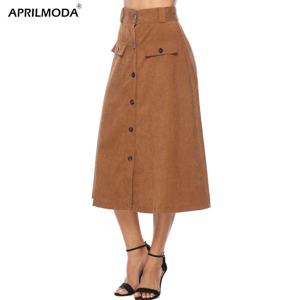 2019 новая весенняя женская повседневная юбка с двумя карманами, завышенная талия цвета хаки, повседневные трапециевидные юбки размера плюс