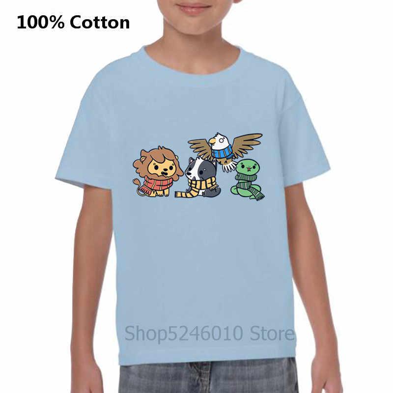 Kawaii Động Vật Sư Tử Chó Con Cú Loài Rắn Áo Thun Ngộ Nghĩnh Harry Pháp Sư Hogwarts Nhà Gryffindor Cổ Magic Trường Áo 100% Cotton Trẻ Em áo Sơ Mi