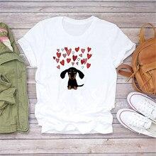 LUSLOS Moda Vogue Das Mulheres T Camisa de Manga Curta Camiseta Para Cães Do Amor Do Coração Imprimir T Das Meninas Tops Roupas Femininas Camisetas T-shirt Kawaii