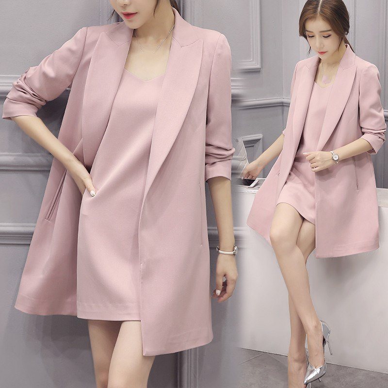 Autumn Winter High Quality Women Overcoat Pink Color Elegant Ol   Trench   Fashion Office Lady Business Workwear