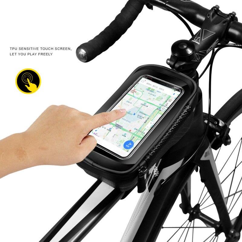 WILDMAN MTB Bike Waterproof PU Front Tube Cycling Bag 6.2/'/'TouchScreen Phone Bag