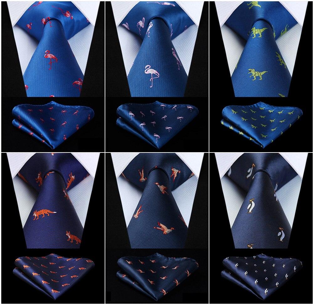 Hisdern Party Wedding Men's Woven Silk Ties Pocket Square Set Animal Elephant Penguin Flamingo Jacquard Necktie Handkerchief Set