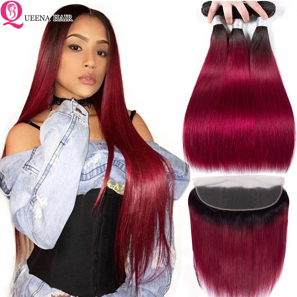 1B Burgundy Bundles With Frontal Closure Peruvian Human Hair Colored Red Burgundy Ombre Straight Hair Bundles With Frontal Remy