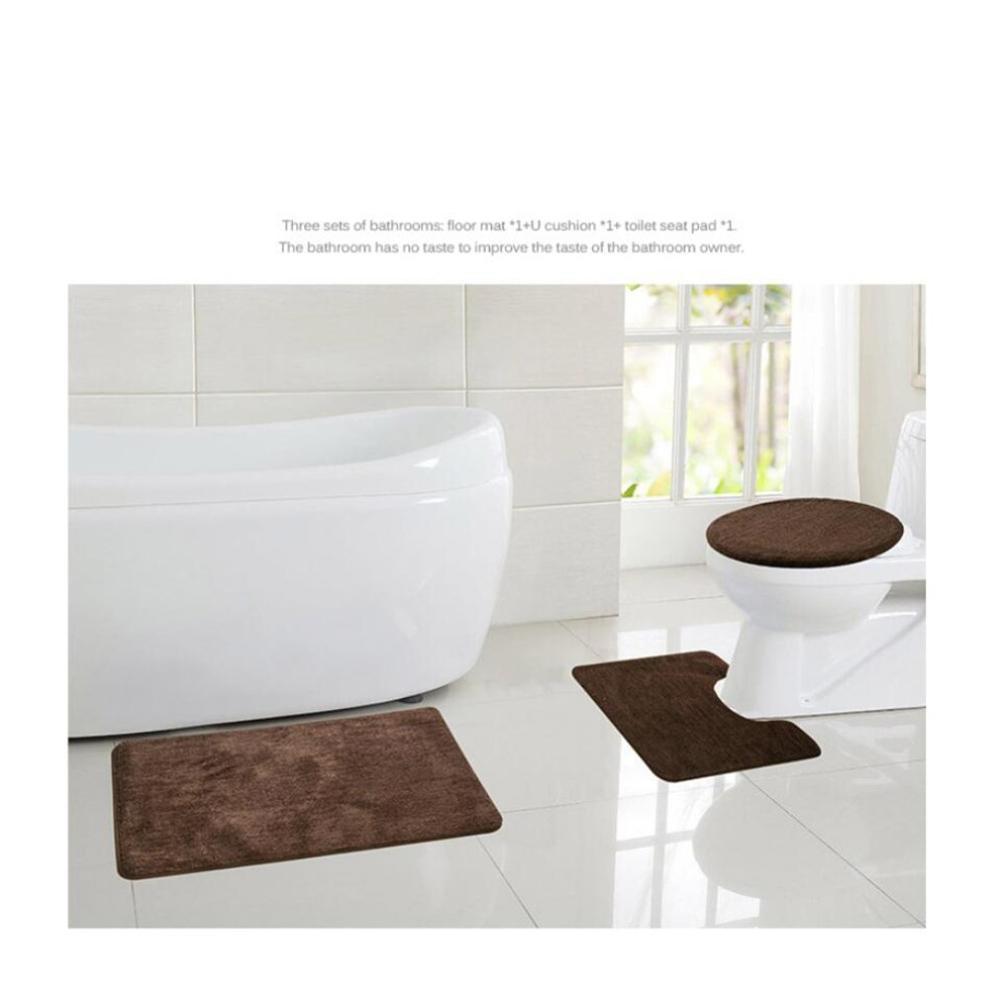 Design Simple 3 pièces/ensemble Design moderne solide tapis de salle de bain ensemble tapis de bain Contour couvercle de toilette pour la maison salle de bain