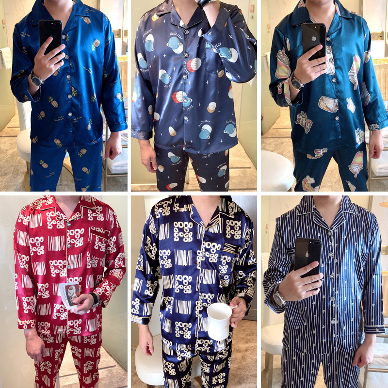 Pajamas Men Long Sleeve Spring And Autumn Thin Young And Middle-aged Model Silk Plus-sized Casual Homewear Set