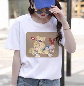 Women's T-shirt, Beautiful Girl Warrior White Round Neck Short Sleeve Cartoon Cute And Funny Street Print All Season Top