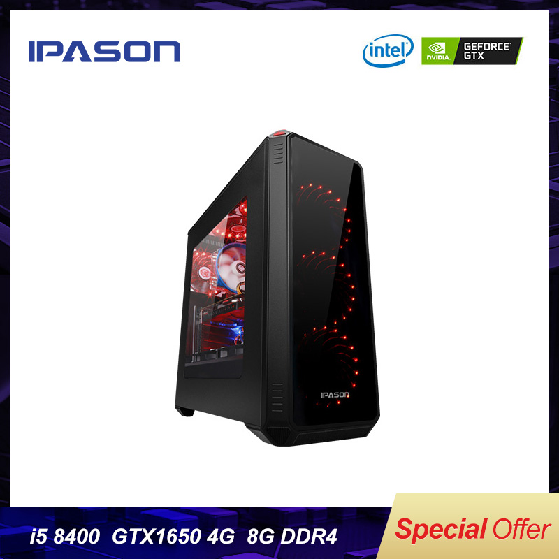 IPASON Gaming PC 8th Gen Intel I5 7400/8400 6 Core/Dedicated Card 1650 4G/DDR4 8G RAM/120G SSD Win10 Barebone Desktop Computer