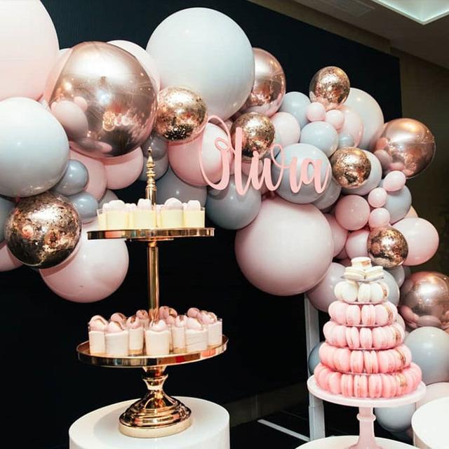 98 Uds Macaroon arco de Globos kit pastel gris Rosa Globos guirnalda oro rosa confeti Globos boda fiesta decoración bebé Showe