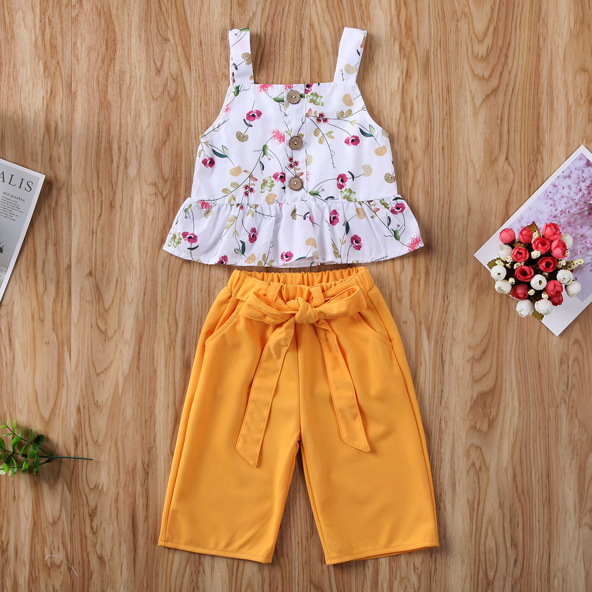 Pudcoco Newborn Baby Girl Clothes Flower Print Sleeveless Strap Ruffle Crop Tops Long Pants 2Pcs Outfits Clothes Summer