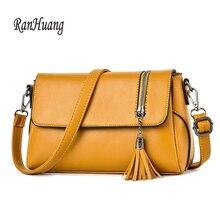 RanHuang جديد وصول 2020 المرأة حقائب كتف صغيرة موضة شرابة حقيبة ساع جودة عالية بولي Leather حقائب جلدية Crossbody