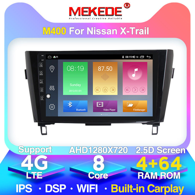 2 Din  4G+64G Android 10.0 Car Radio Stereo  for Nissan X-Trail X Trail 3 T32 2013-2017 4G Lte DSP GPS Navigation Head Unit