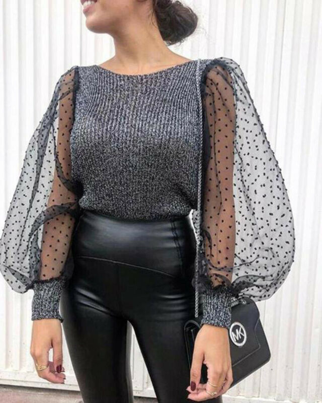 Womens Mesh Puff Long Sleeve Knitted Shirt Spring Autumn Ribbed Loose Casual Polka Dots Blouse Tops Elegant Turtleneck Femme