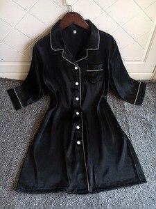 Image 5 - Sexy Night Dress Women Nightwear Lingerie Nightgowns Silk Sleepwear Satin Dress Cute Solid Pijama Three Quarter Sleeve Camison