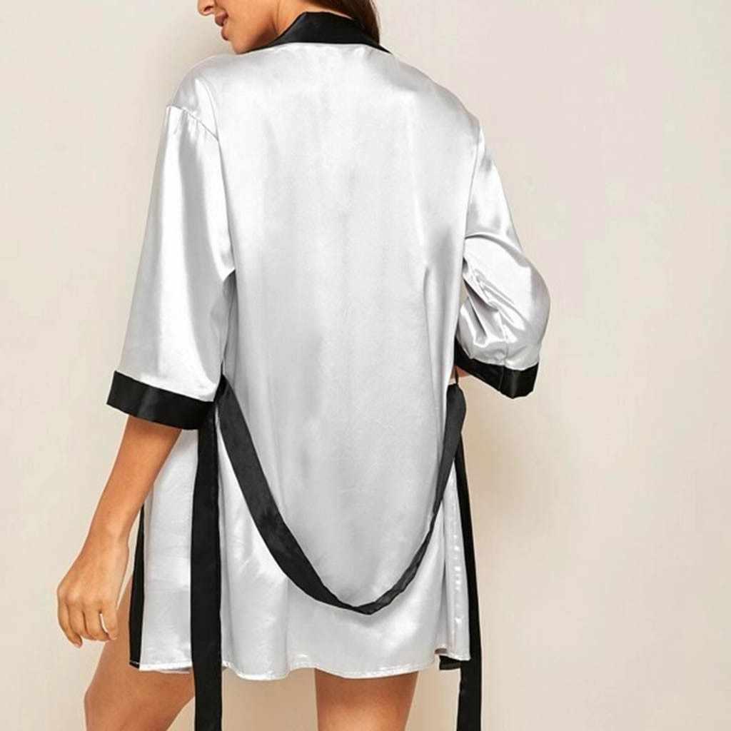 MIARHB מותג נשים חלוק רחצה חדש נשים משי ארוך שרוול סאטן פיג 'מה הלבשת Robe עם חגורת חלוק רחצה szlafrok הלבשת