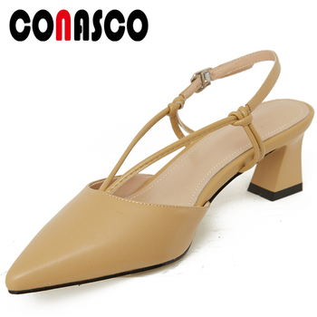 CONASCO 2020 Summer New Fashion Concise Casual Women Sandals Genuine Leather Cow Leather Narrow Band Thick Heels Shoes Woman