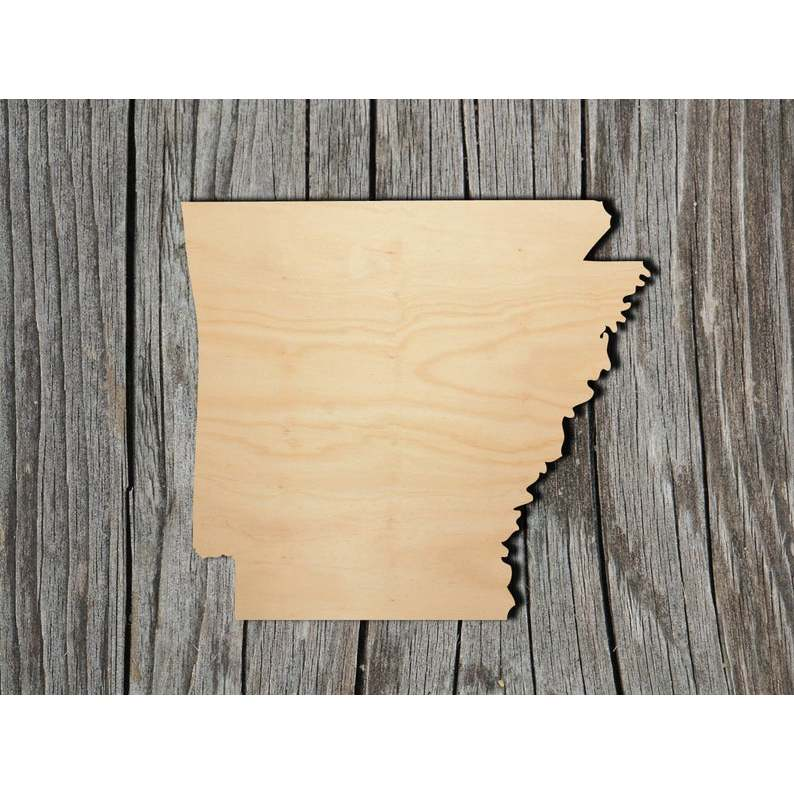 <font><b>Arkansas</b></font> State - Multiple Sizes - Laser Cut Unfinished Wood Cutout Shapes image