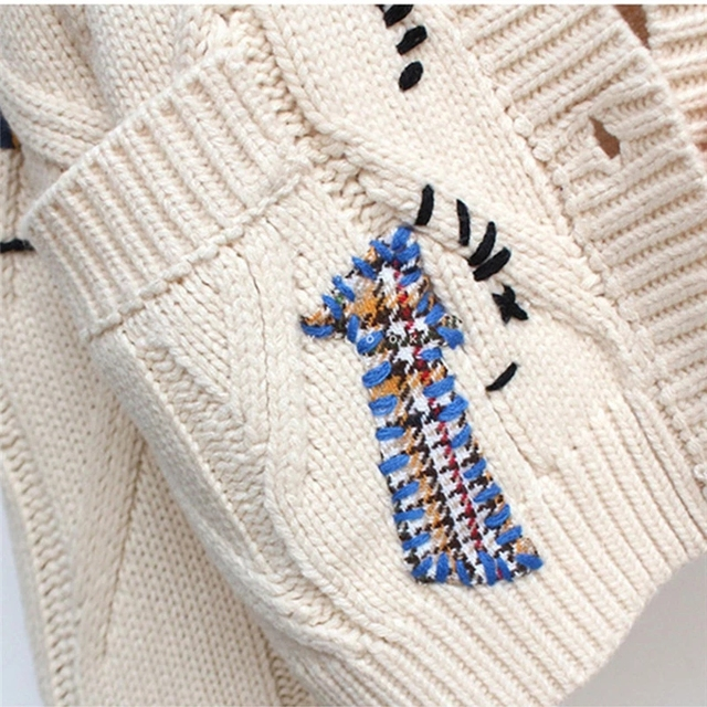 2020 Autumn Winter Women Cardigan Warm Knitted Sweater Jacket Pocket Embroidery Fashion Knit Cardigans Coat Lady Loose Sweaters 5