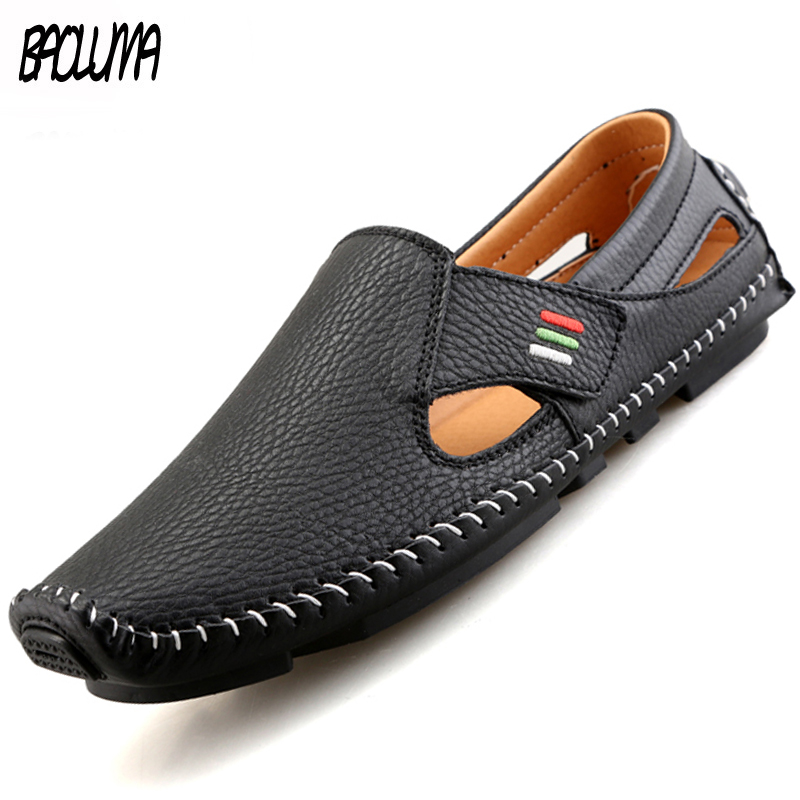 Brand Hot Sale Mens Casual Shoes Handmade Moccasins For Men Loafers Summer Breathable Men Hook&loop Driving Boats Big Size 37-48