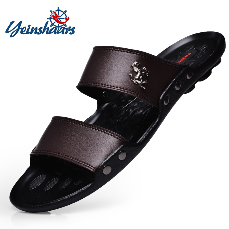 YEINSHAARS Casual Famous Brand Men Sandals Shoes Slippers Summer Flip Flops Beach Men Shoes Leather Sandalias Zapatos Hombre