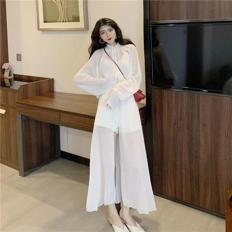 Nowy lato 2019 kobiet Streetwear koszula ochrony przeciwsłonecznej długa, cienka biała Overknee luźna długa bluzka Lady topy w stylu boho OS012