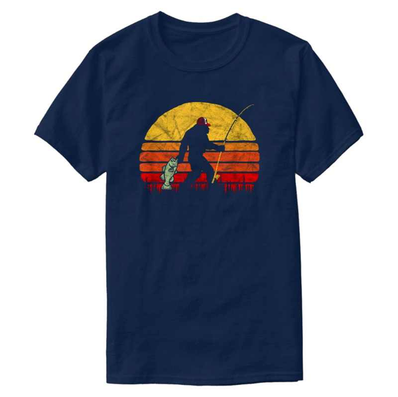 Vintage Bass Fishing Bigfoot In Trucker Hat Retro Funny Men's T-Shirt Comical Tee Shirt For Men Short-Sleeve Cool Hiphop