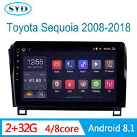Car Radio For Toyota Tundra 2007 2013 Sequoia 2008 2018 Multimedia System DVD GPS 1 DIN Android 8.1 Support WIFI AM RDS DSP SWC