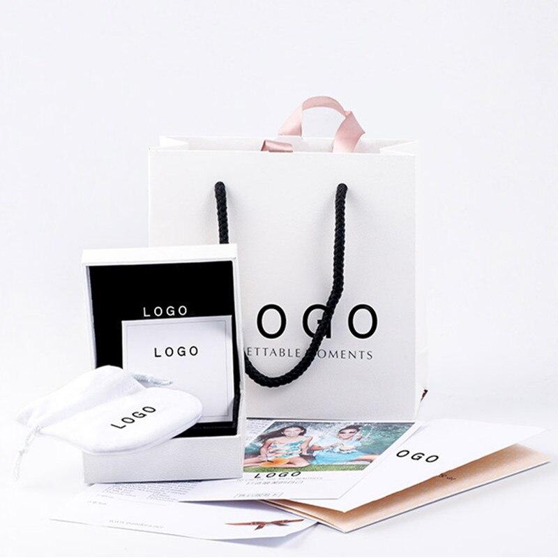 Белая упаковочная коробка, подходит для ювелирных изделий Pan с ручным бумажным мешком, бархатная ткань, серебристая ткань, оригинальный диз...