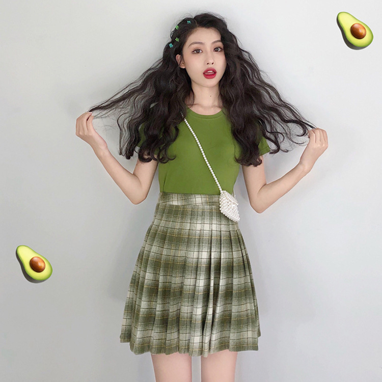 2019 Summer New Style Avocado Tops Short Sleeve T-shirt Women's Slimming + High-waisted Pleated Plaid Short Skirt Two-Piece Set