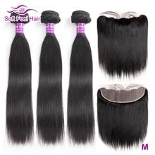 Мягкие на ощупь волосы, бразильские прямые волосы, пучки с фронтальной Реми, человеческие волосы, 3 пучка, кружевная Фронтальная застежка с пучками, 4 шт./лот