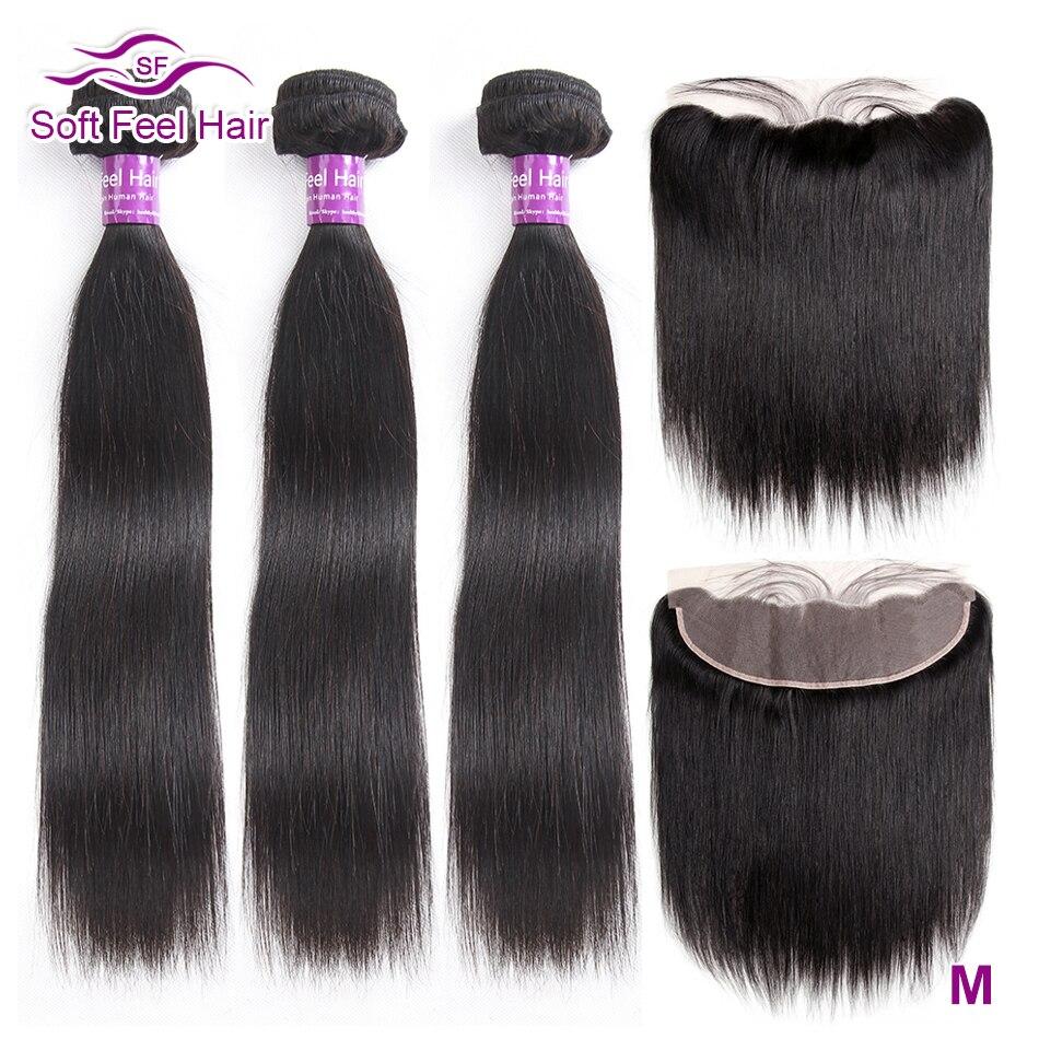 Mèches Remy brésiliennes avec Frontal, cheveux naturels, cheveux naturels, lisses, doux, en lots de 3 pièces/lot