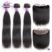Soft Feel Hair Brazilian Straight Hair Bundles With Frontal Remy Human Hair 3 Bundles Lace Frontal Closure With Bundles 4Pcs/Lot